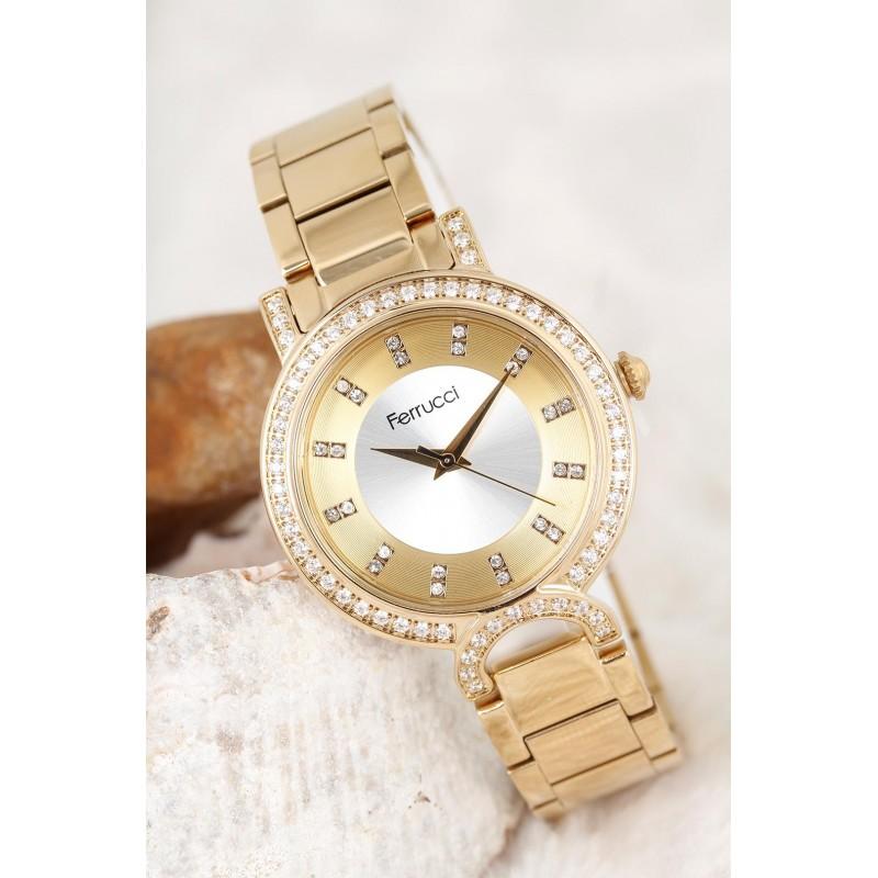Dore Renk Metal Kordon Dore Renk Metal Zirkon Taşlı Kasa Tasarımlı Kadın Saat