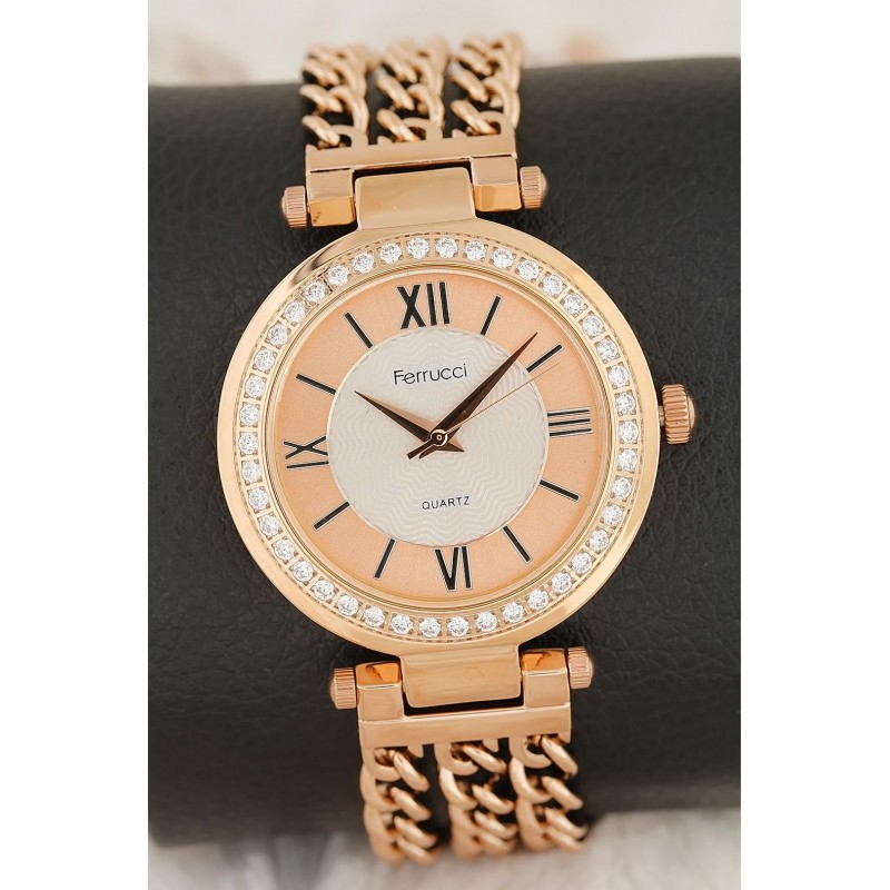 Bronz Renk Zincirli Metal kordon Metal Kasa Tasarımlı Kadın Saat
