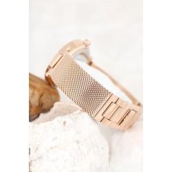 Bronz Renk Hasır Metal Kordon Kasa Tasarımlı Kadın Saat