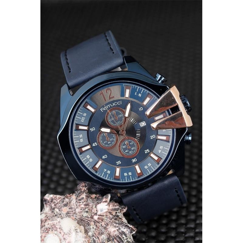 Lacivert Renk Deri Kordon Tasarımlı Metal Kasa Erkek Saat