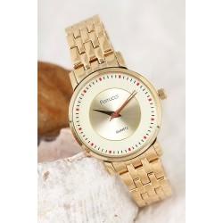 Dore Renk Metal Kordon Tasarımlı Kadın Saat
