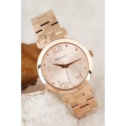 Bronz Renk Metal Kordon Tasarımlı Kadın Saat