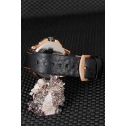 Siyah Renk Silikon Kordon Tasarımlı Bronz Renk Metal Kasa Erkek Saat
