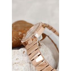 Bronz Renk Metal Kordon Dore Renk Metal Zirkon Taşlı Kasa Tasarımlı Kadın Saat